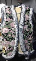 Женская жилетка из овечьей шерсти 58 размер