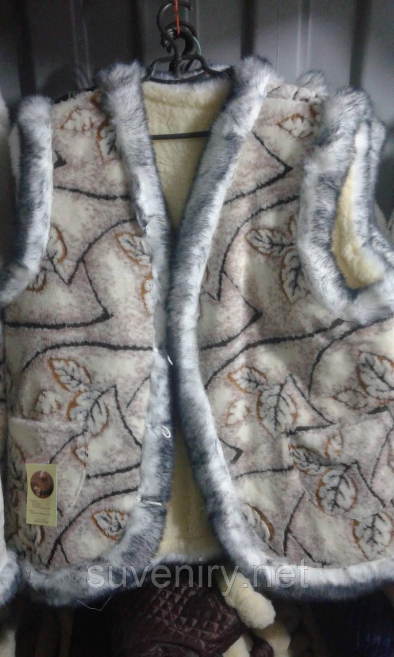 Женская теплая жилетка из овечьей шерсти большие размеры