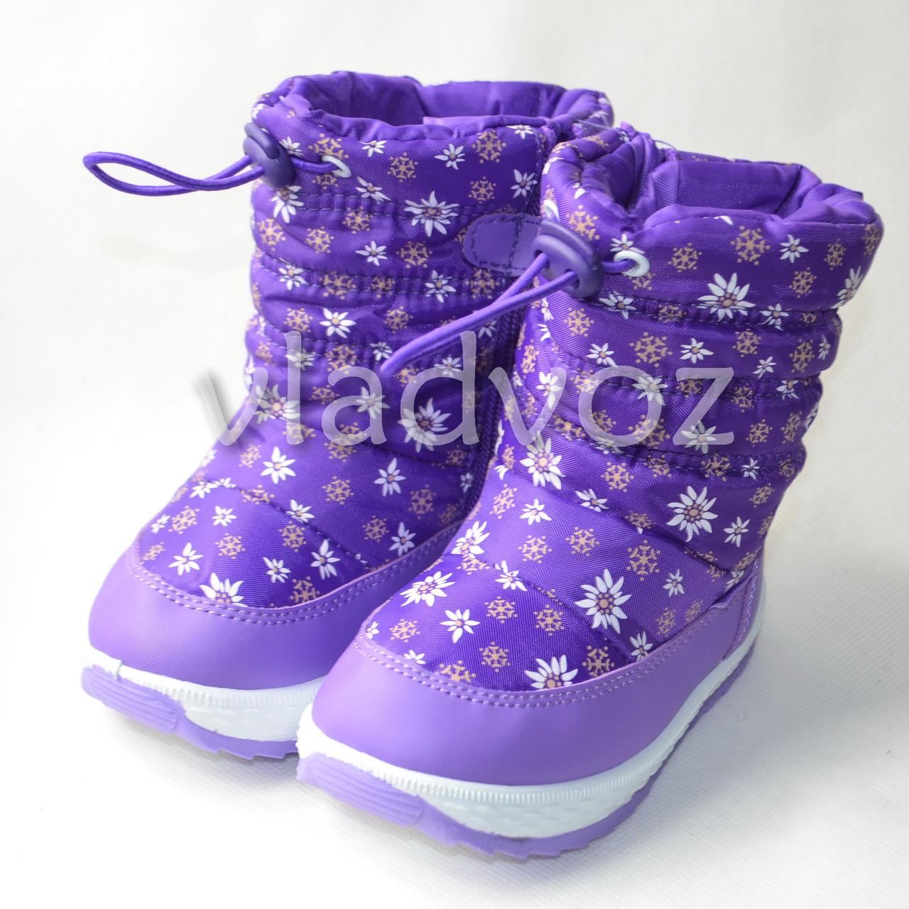 Детские дутики на зиму для девочки сапоги фиолетовые ромашка 22р.