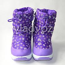 Детские дутики на зиму для девочки сапоги фиолетовые ромашка 22р., фото 3