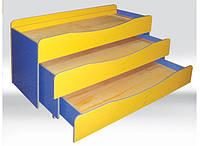 Кровать детская 3-х ярусная без матраса 1491х648х868 мм.
