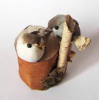 Пара влюбленных птичек - сувениры из коры