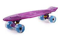 Пенни Борд Fish «Фиолетовый» 22″ Прозрачная дека / светящиеся колеса /пенниборд скейт (penny board), скейтборд