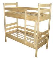 Кровать детская 2-х ярусная, из натуральной древесины (сосна), без матраса.