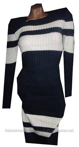 Костюм женский кофточка и юбка полоска