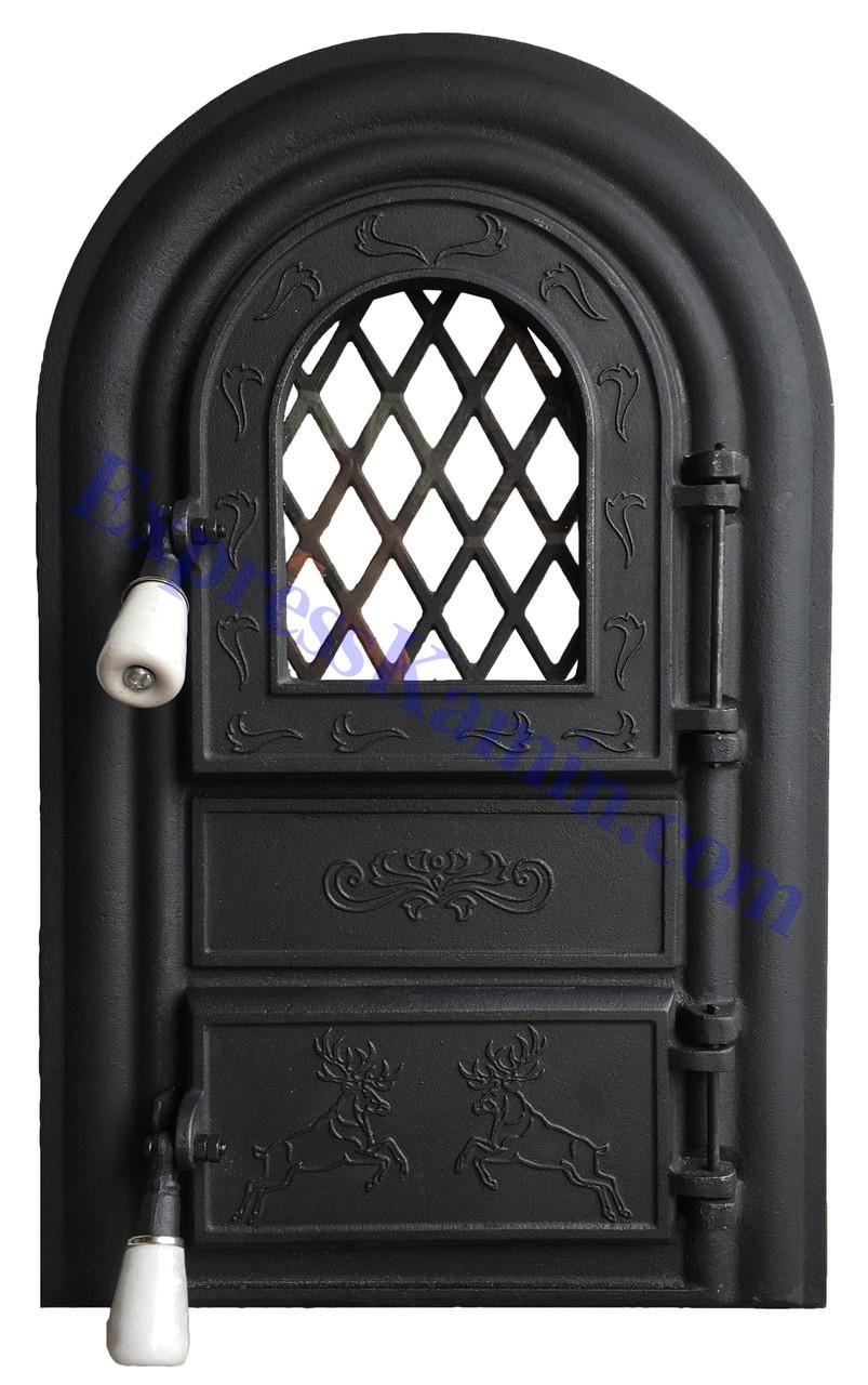 """Дверцы печные со стеклом """"Олени черные"""" Чугунная дверка для печи барбекю"""