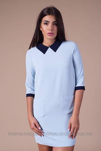 Платье женское с воротничком и карманами