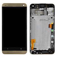Дисплей для мобильного телефона HTC One M7 801e, золотистый, с сенсорным экраном, с передней панелью