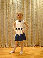 """Летнее детское платье без рукавов """"Анфиса"""" со складками и цветочками на поясе (3 цвета)"""