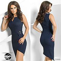 Женское стильное платье ассиметрия 565 \ т.синий