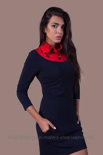 Платье женское с воротником и карманами