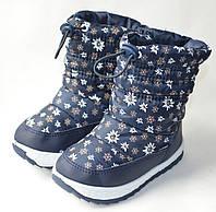 Модные дутики на зиму для девочки сапоги темно синий ромашка 31р.