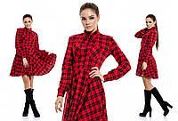 Красное трикотажное платье в клетку. Арт -863370