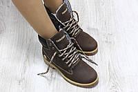 Зимние натуральные кожаные ботинки Timberland коричневогоцвета
