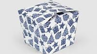 """Коробка """"Япония"""" М0060-о5 новогодний принт, голубая"""