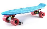 Пенни Борд Fish «Голубой» 22″ Розовые Колеса / пенниборд скейт (penny board), скейтборд с рисунком