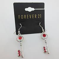 Изящные модные женские серьги сережки в форме ключиков от Forever 21