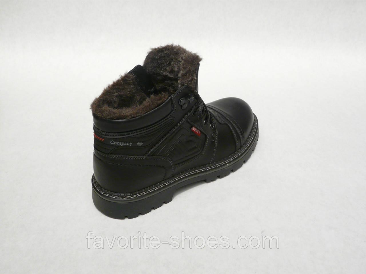 Зимние мужские кожаные ботинки Bumer 80 Чер.