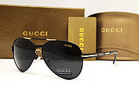 Мужские солнцезащитные очки Gucci 5013 черные с золотом, фото 1