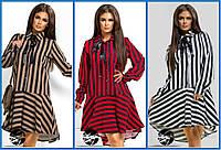 Женское стильное платье ассиметрия Полоска 2335 в расцветках