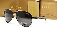 Мужские солнцезащитные очки Gucci 5013 цвет черный с серебром