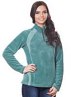Женская,теплая,флисовая зимняя кофта зеленого цвета со стойкой.Не дорого