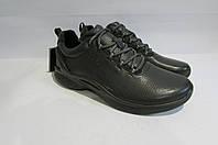 Мужские демисезонные кожаные кроссовки ECCO (8375) темно серые 3009А