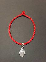 Браслет красная нить на руку с оберегом Рука Фатимы