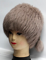 Зимова жіноча шапка з натурального хутра кролика