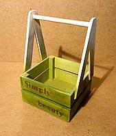 Ящик деревянный с ручкой под цветы, салатовый с белым, 19,5х18х27 см, фото 1