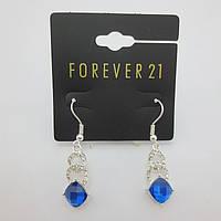 Красивые стильные женские серебристые серьги c синими камешками от Forever 21