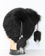 Зимняя женская шапка из натурального меха лисы