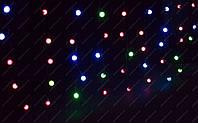 Разноцветная Гирлянда Шарики Штора - Бахрома на черном проводе 3 x 0,55м 75 LED мультиколор, занавес Плей Лайт