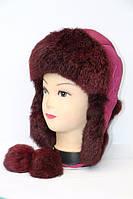 Женская шапка ушанка - натуральный мех кролика