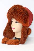 Теплая женская шапка ушанка из меха кролика