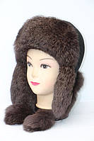 Женская модная шапка ушанка из меха кролика