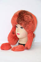 Женская модная зимняя шапка ушанка из меха кролика