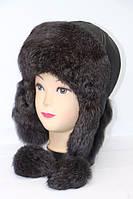 Модная женская шапка ушанка из натурального меха кролика