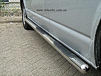 Volkswagen T5 Transporter 2003-2010 гг. Боковые трубы d60 (2 шт, нерж) Длинная база