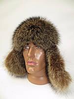 Меховая шапка ушанка мужская - мех енота