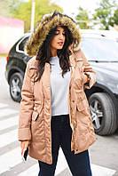 Тепленькая женская куртка-парка, капюшон с искусственным мехом енота