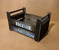 Ящик деревянный с ручками под цветы, черный, 27х19,5х15,5 см