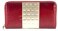 Стильный гламурный прочный кожаный качественный женский кошелек-барсетка SALFEITE art. 2548T-13-44A красный