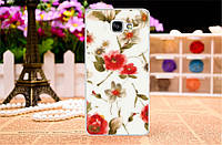 Чехол для Samsung Galaxy A7/A710 с картинкой Красные цветы на белом фоне