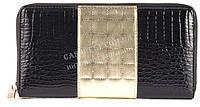 Стильный гламурный прочный кожаный качественный женский кошелек-барсетка SALFEITE art. 2548T-13-67A черный