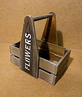 Ящик деревянный с ручкой под цветы, бежевый, 26,5х19х27 см