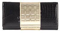 Стильный гламурный прочный лаковый кожаный качественный женский кошелек SALFEITE art. 2029T-13-67A черный
