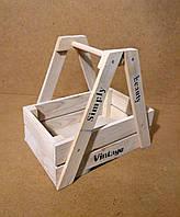 Ящик деревянный с ручкой под цветы, белый, 26,5х18х27 см