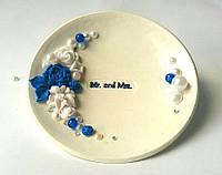 Блюдце для колец свадебное. Синий цветок.