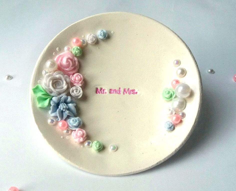 Блюдце для колец свадебное. Микс цветов.